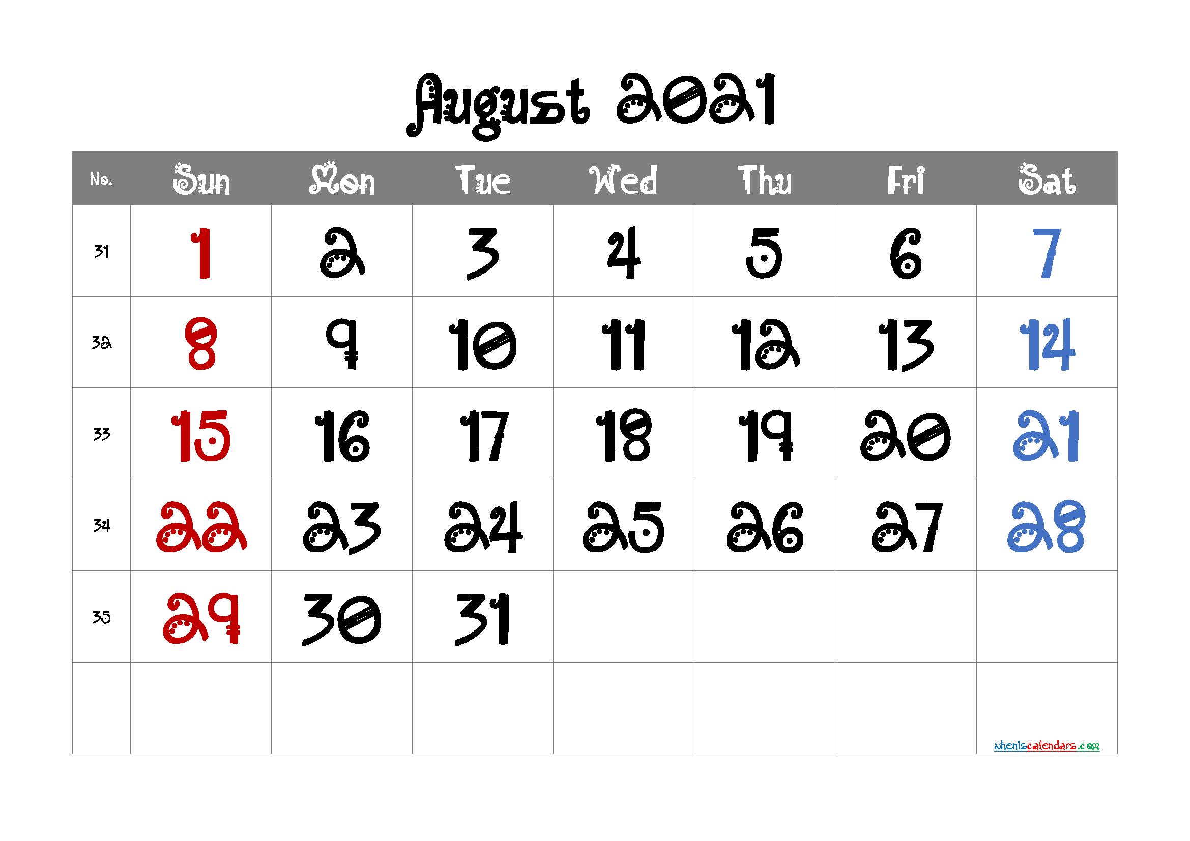Free Printable Calendar August 2021