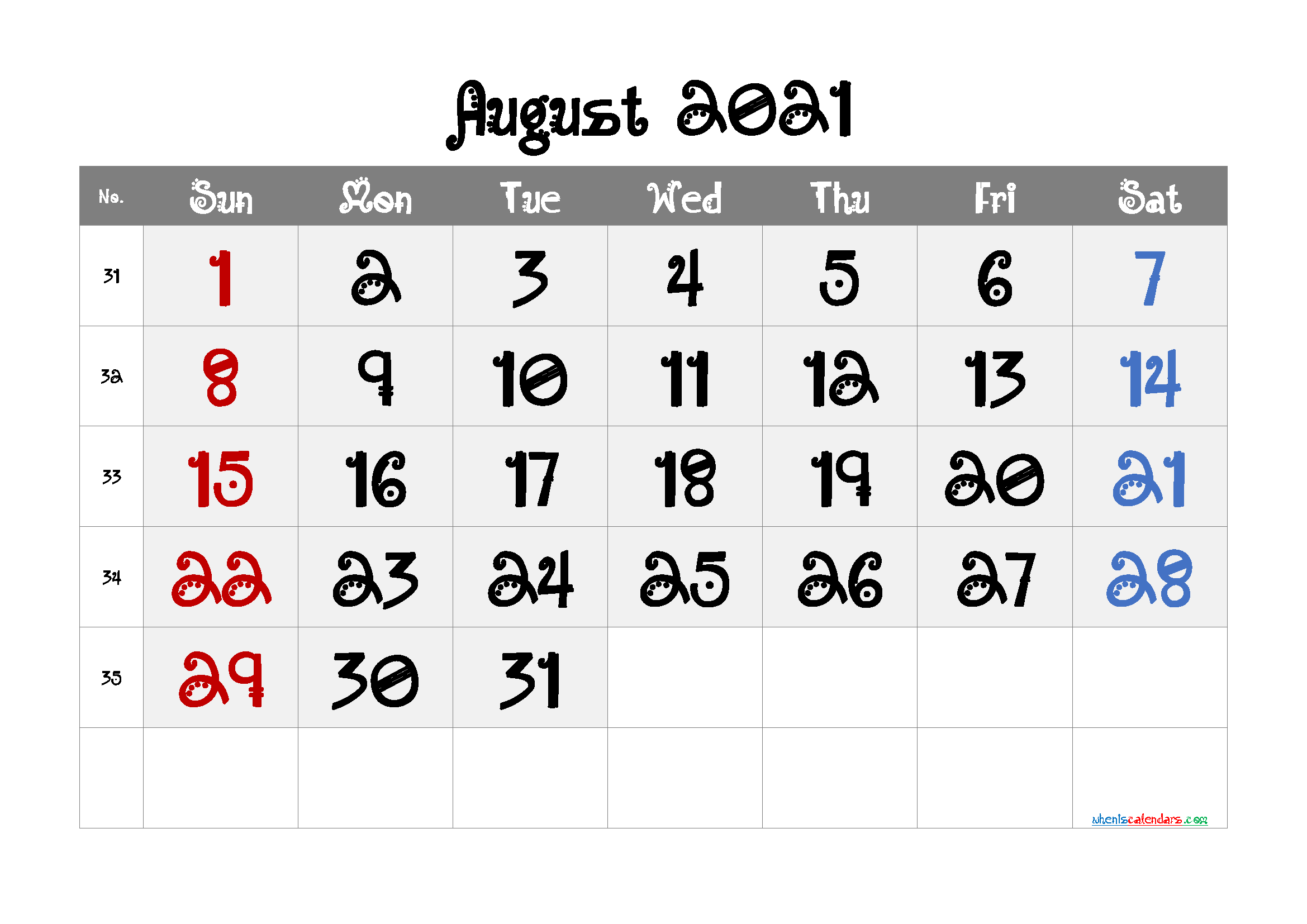 August 2021 Printable Calendar Free