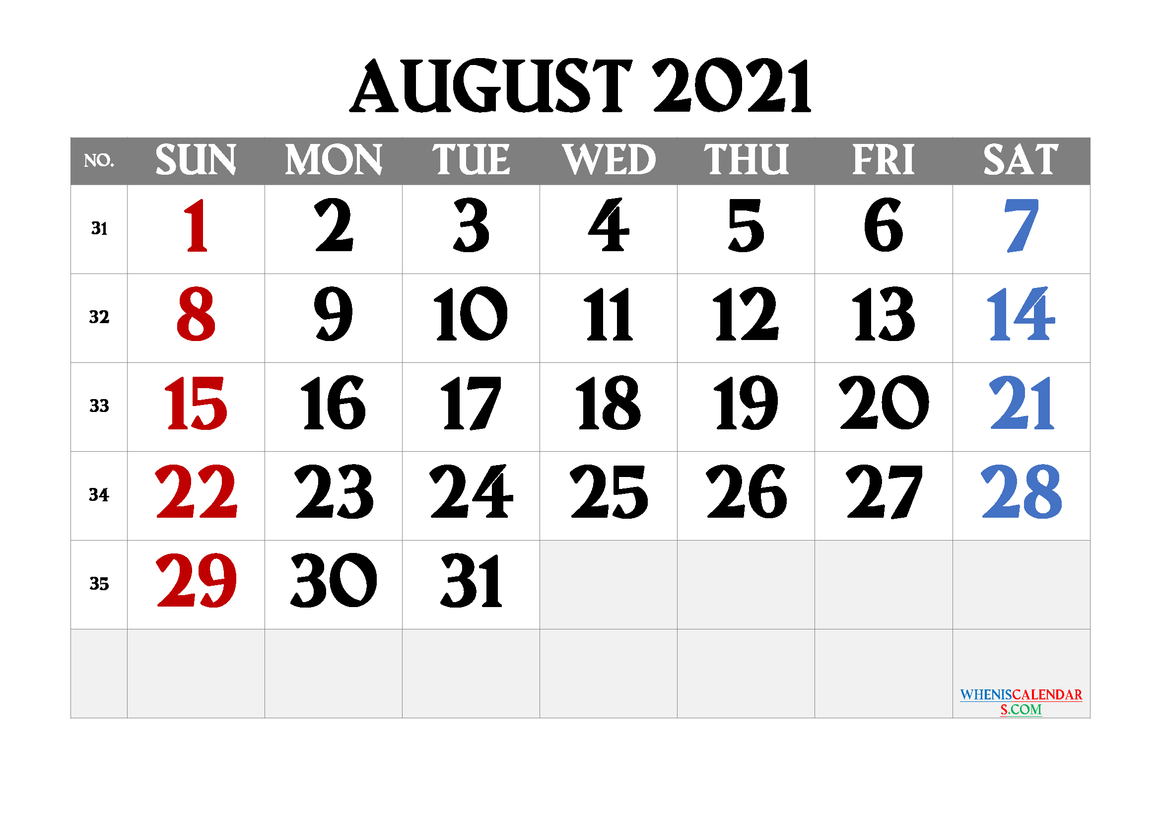 Printable August 2021 Calendar Free