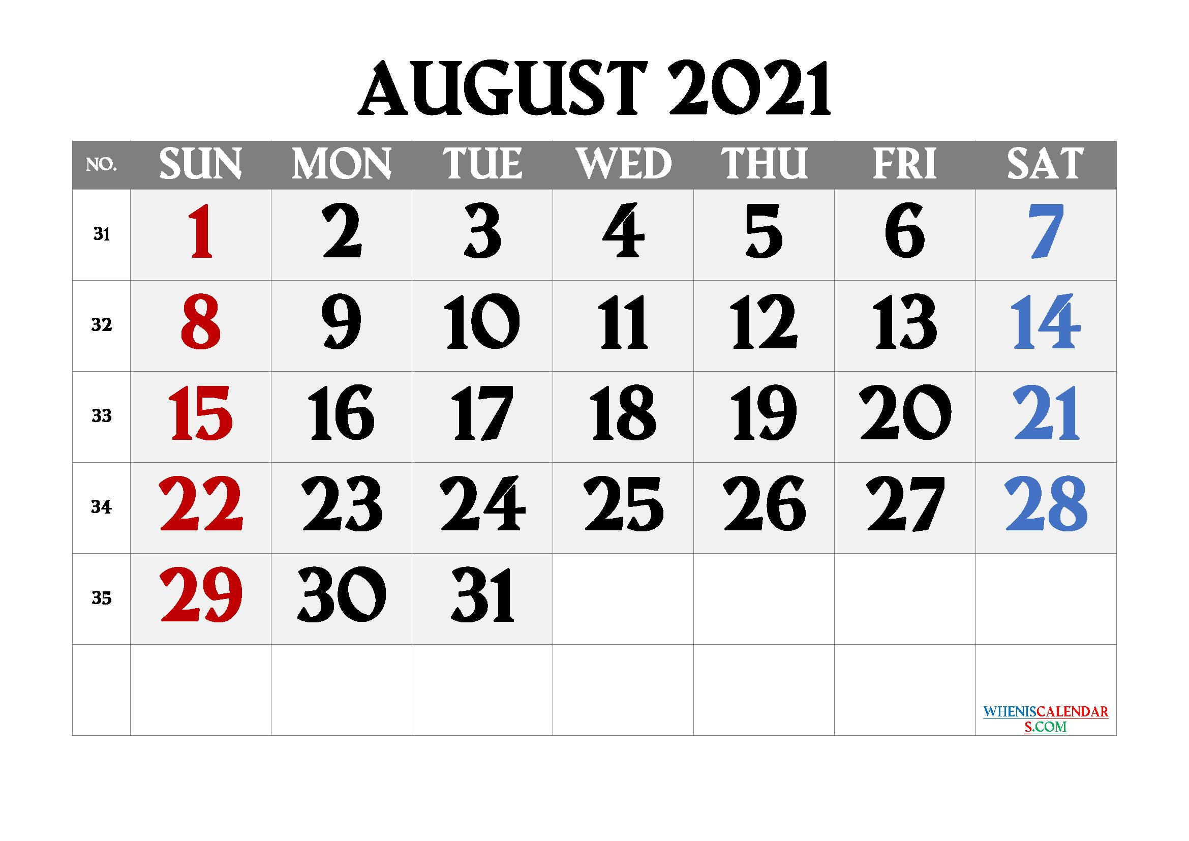 Printable August 2021 Calendar | Template M21Amagro3