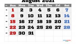 Editable August 2021 Calendar