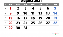 August 2021 Calendar Printable Free