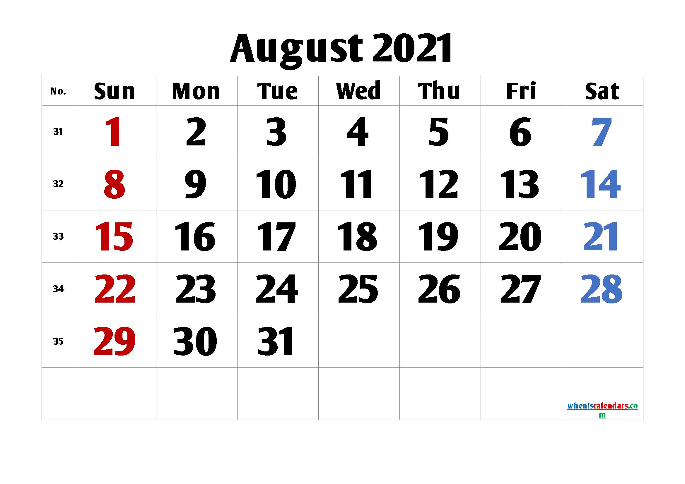 Calendar August 2021 Printable Free