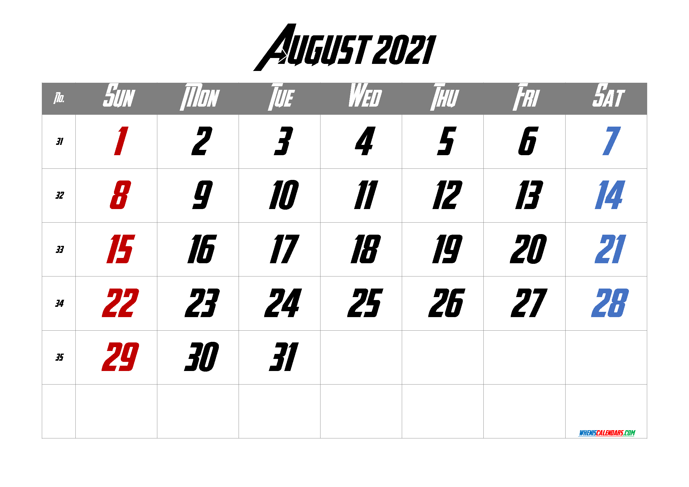 Calendar August 2021 Free Printable