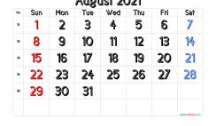 Free August 2021 Calendar Printable