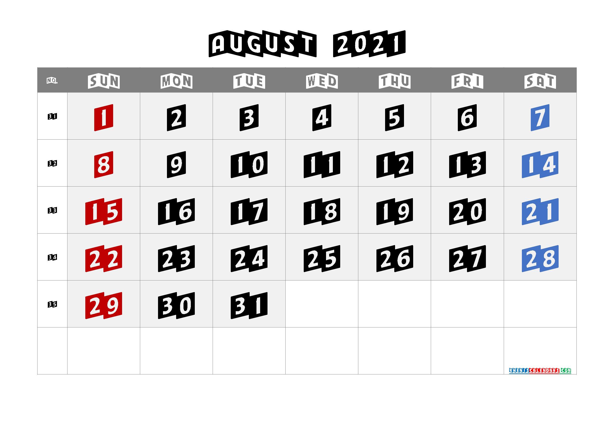 Free Calendar August 2021 Printable