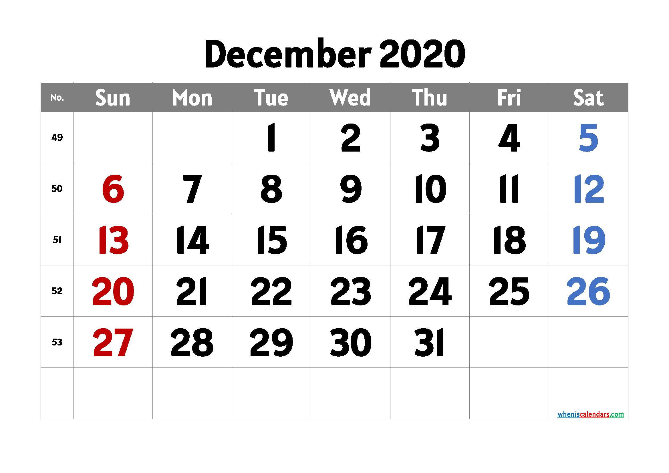 Printable Calendar December 2020