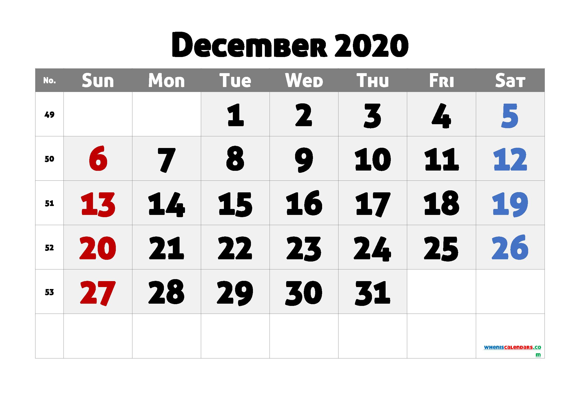 Printable December 2020 Calendar PDF