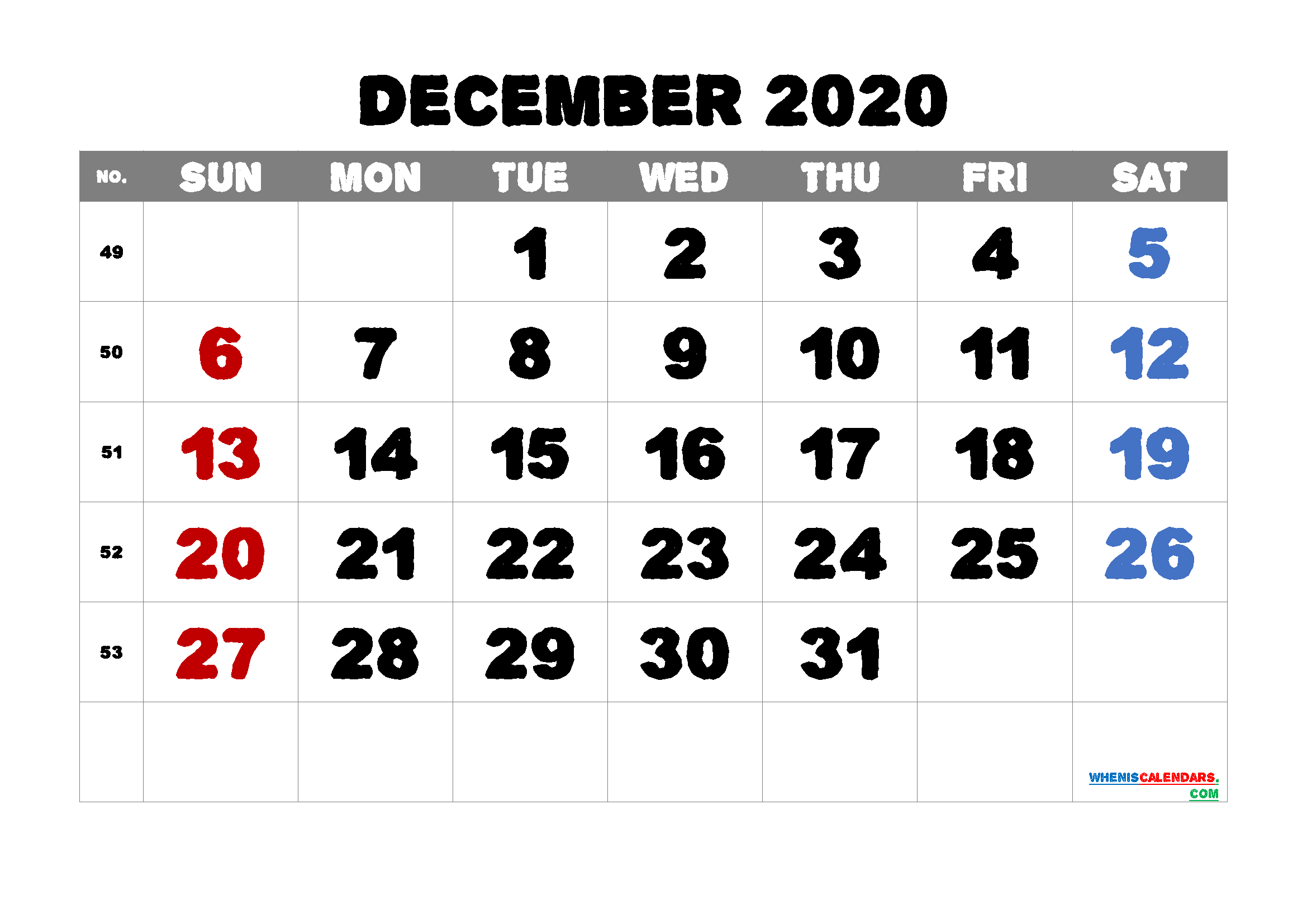 Editable December 2020 Calendar Free
