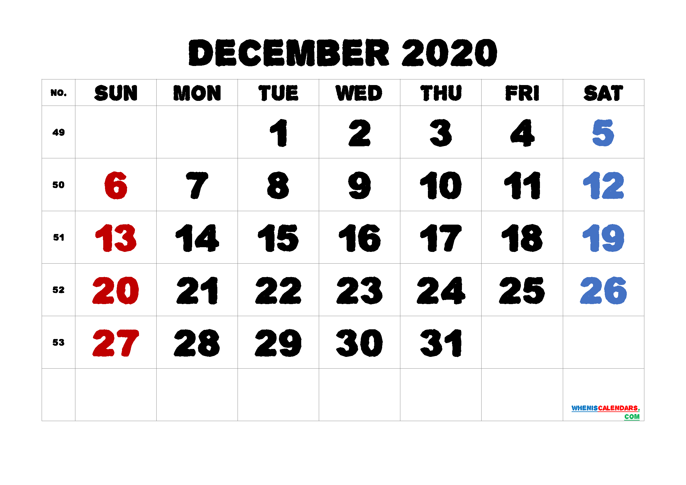 Printable December 2020 Calendar for Free