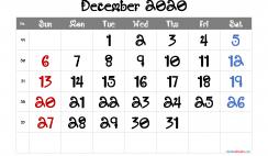 Free Editable December 2020 Calendar