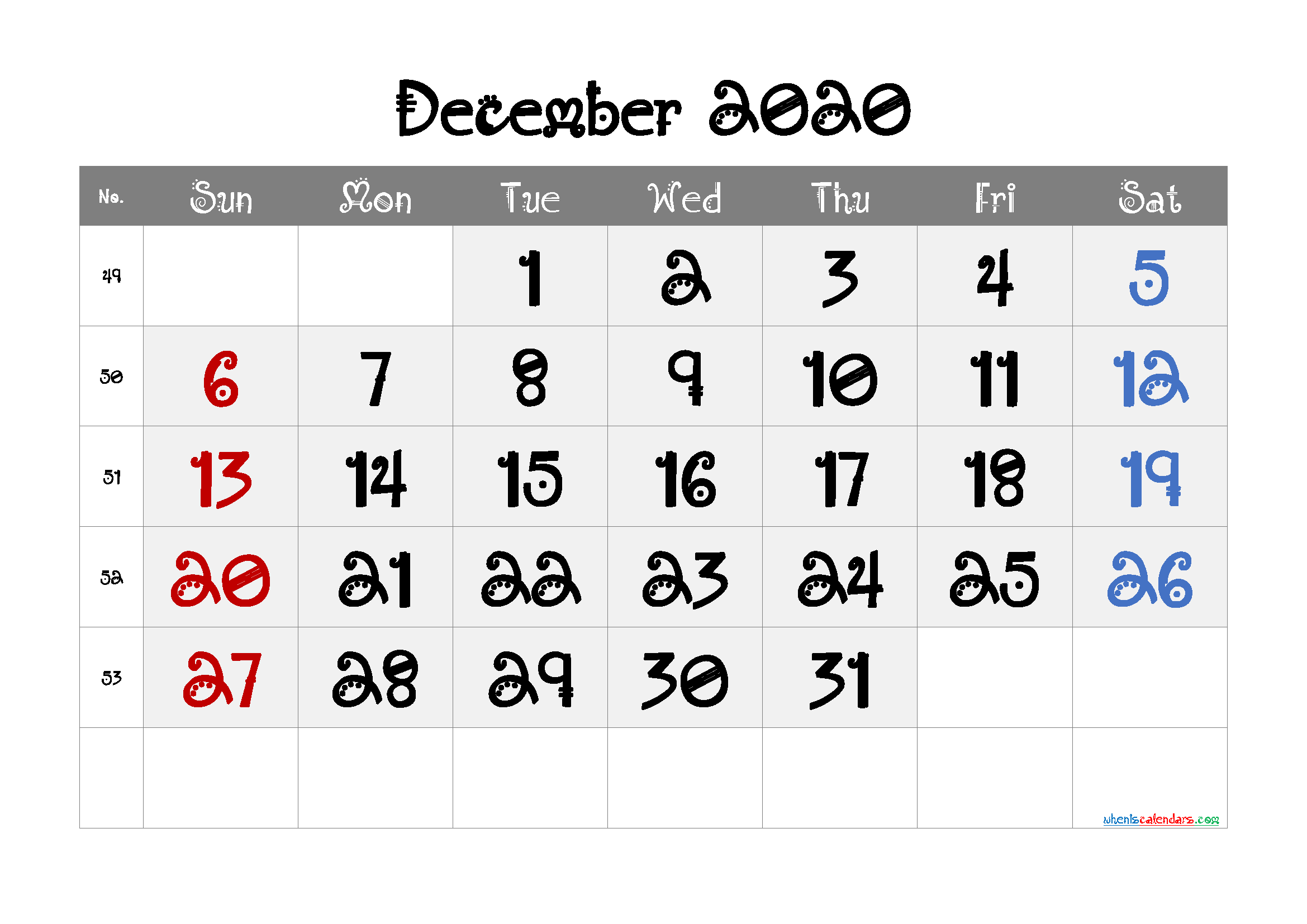 December 2020 Printable Calendar Free