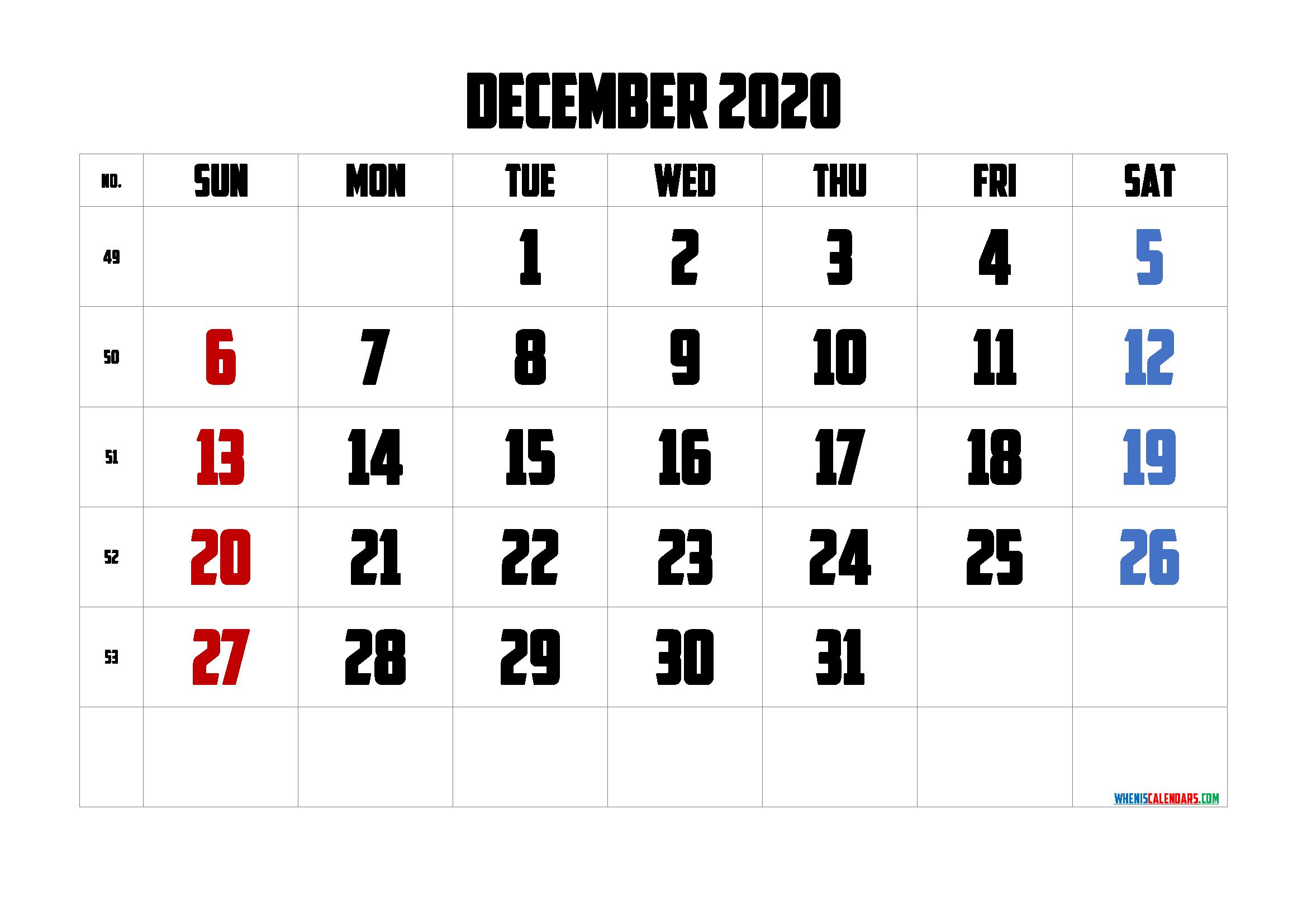 Calendar December 2020 Printable Free