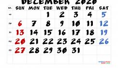 Editable December 2020 Calendar