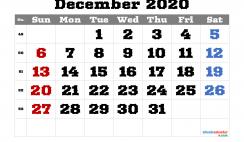 Free Printable December 2020 Calendar