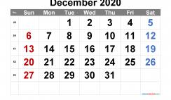 December 2020 Calendar Printable Free