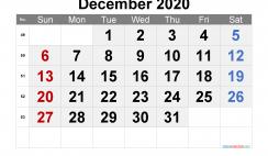 Free Calendar December 2020 Printable