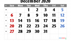 Calendar December 2020 Free Printable