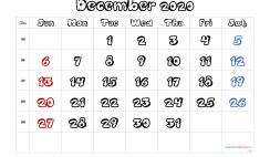 Printable December 2020 Calendar Free