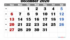 Free December 2020 Calendar Printable