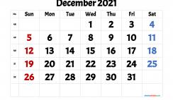 Free December 2021 Calendar Printable