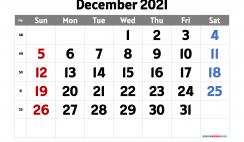 December 2021 Calendar Printable Free