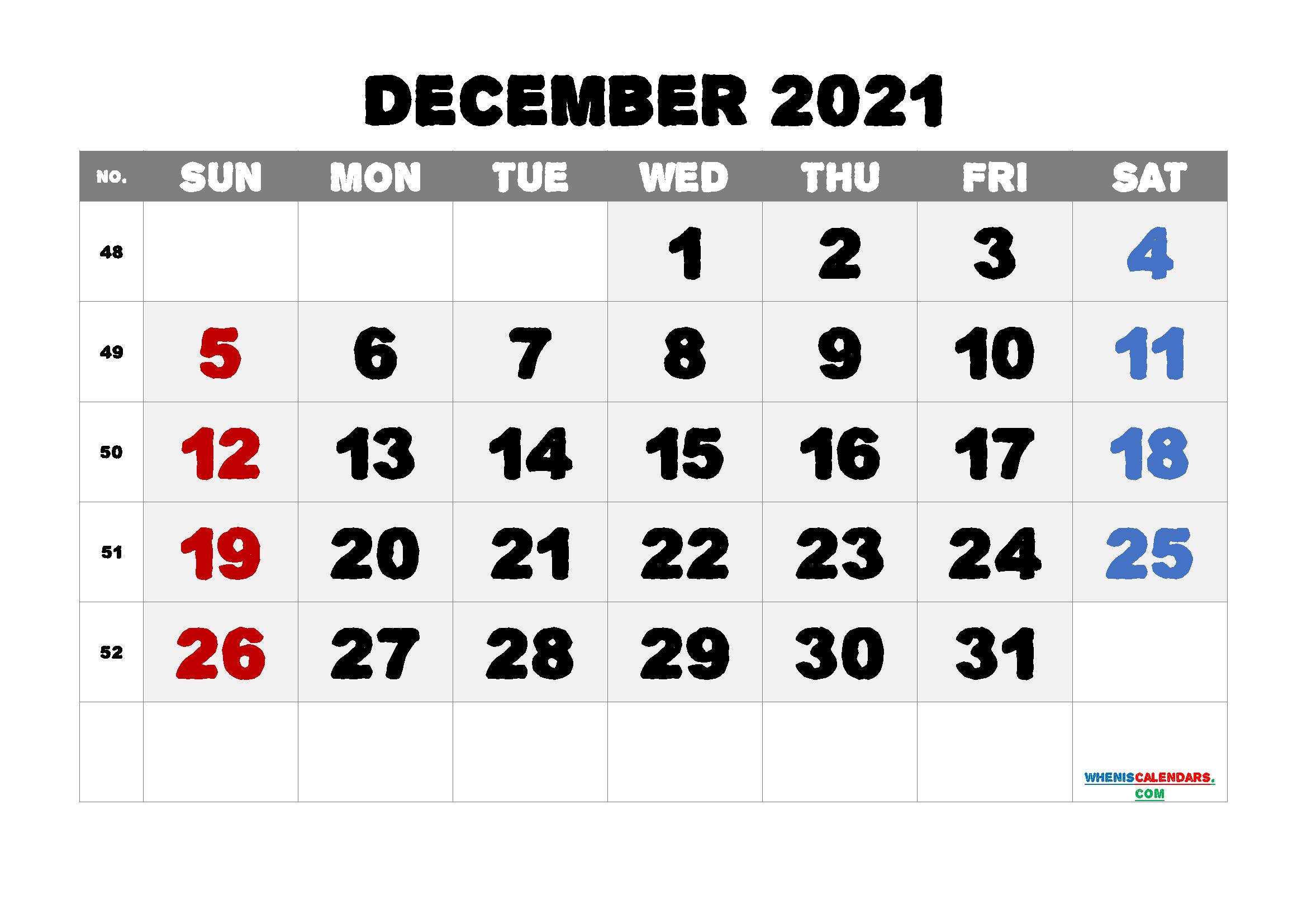 Free Calendar December 2021 Printable