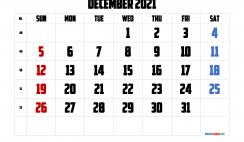 Calendar December 2021 Printable Free
