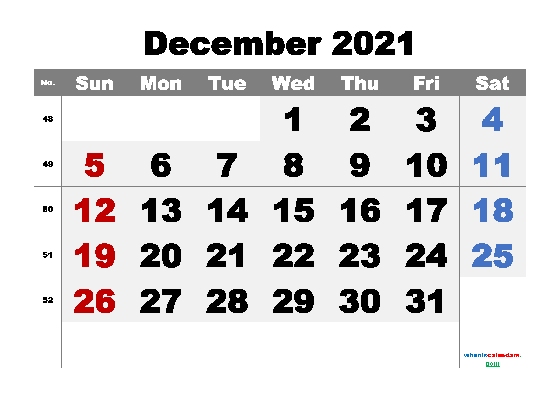 Printable December 2021 Calendar Free