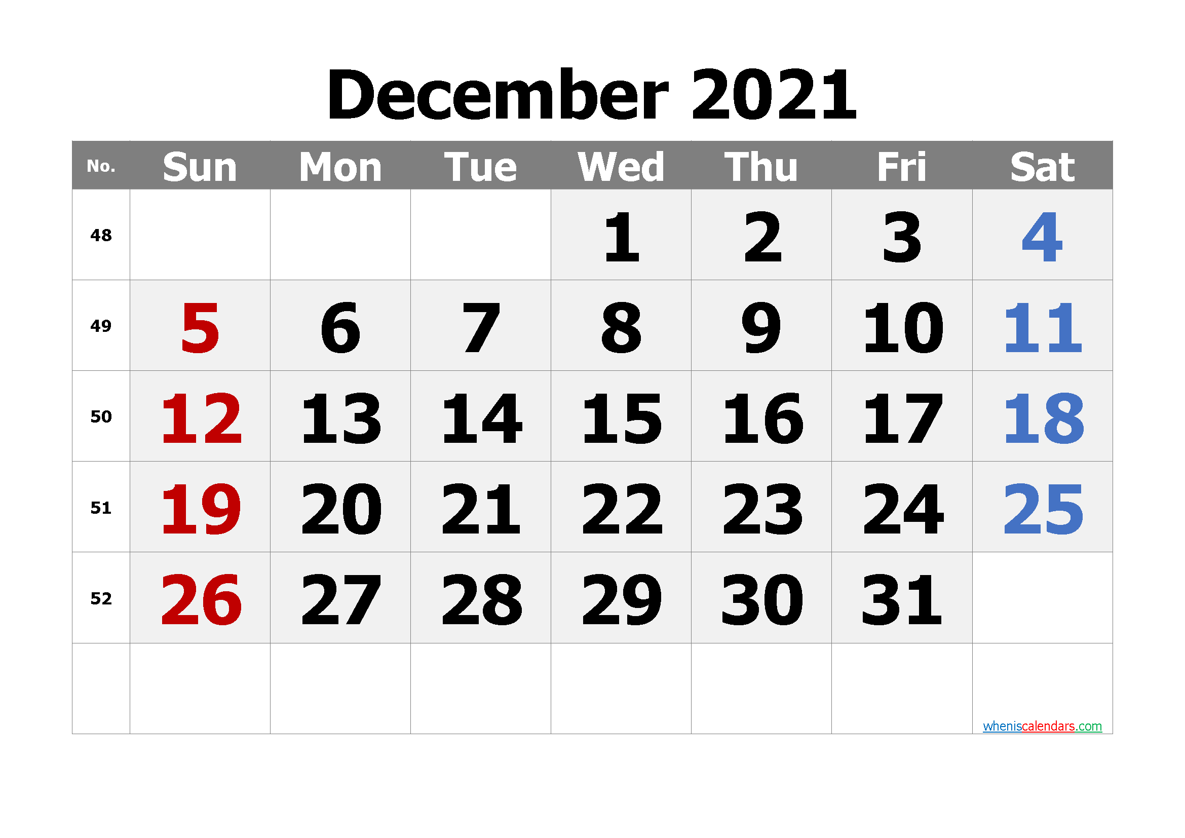 Free Editable December 2021 Calendar
