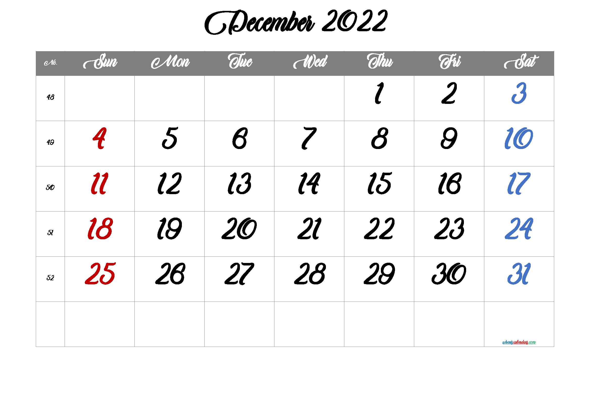Free Printable December 2022 Calendar 12 Templates - Free ...