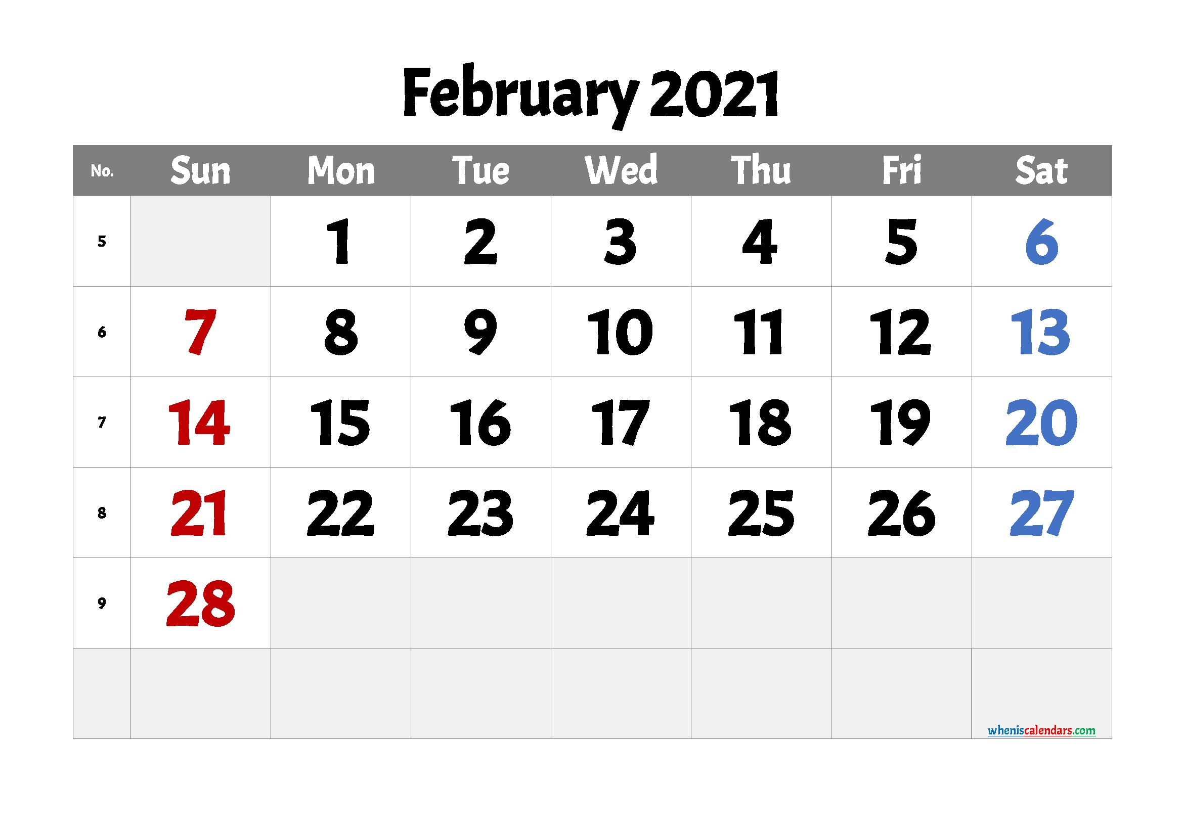 Printable February 2021 Calendar Free