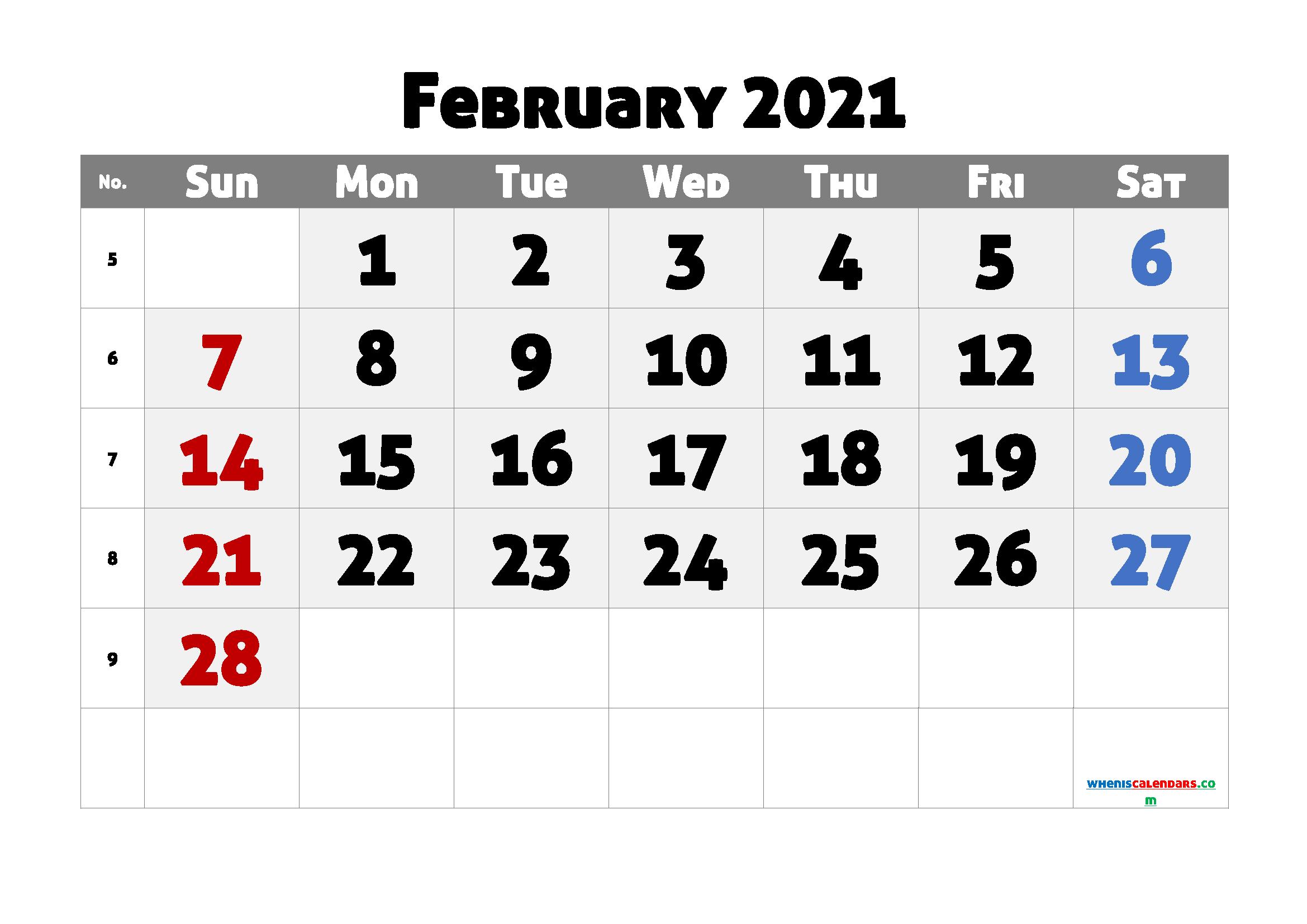 Editable February 2021 Calendar Free