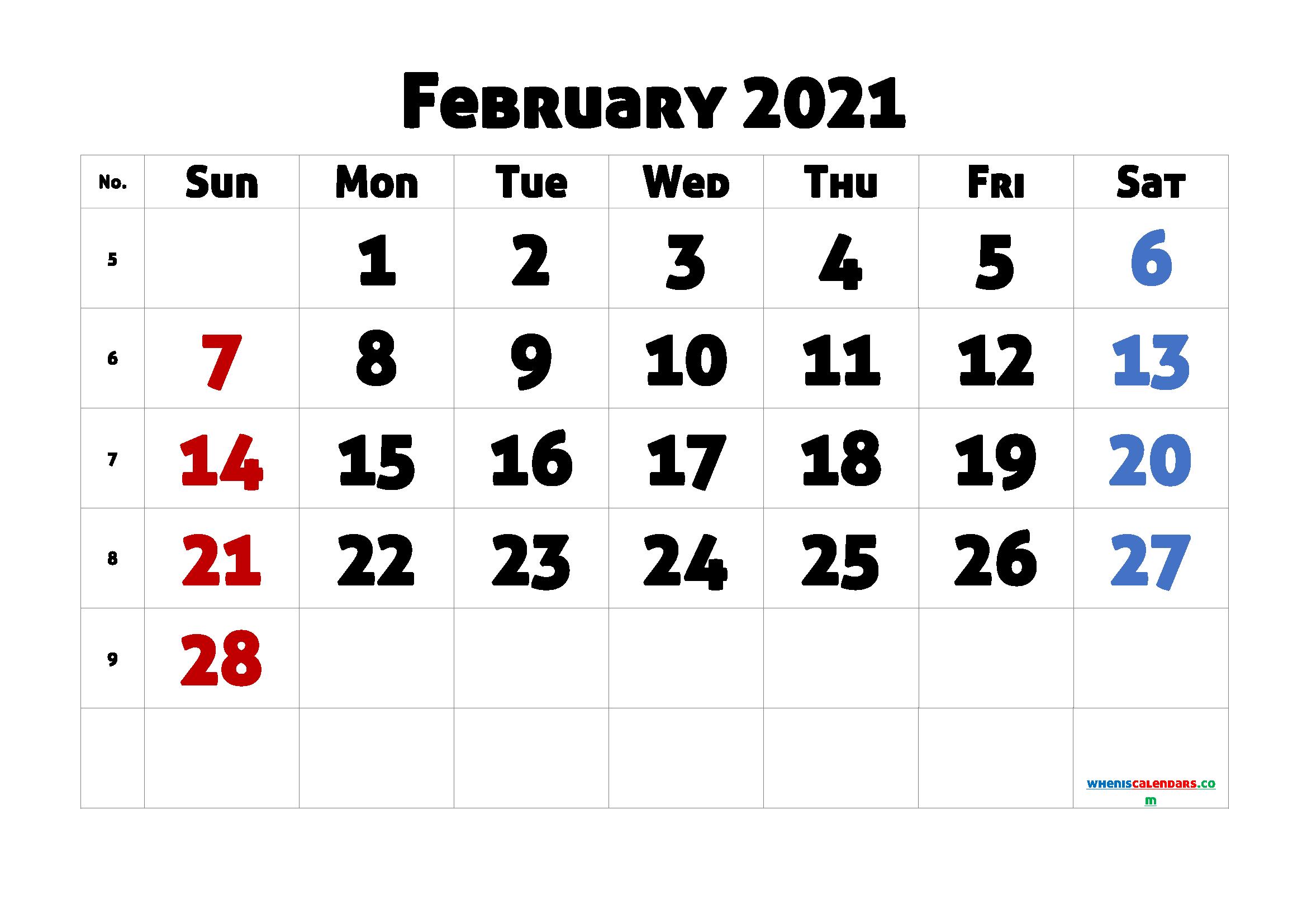 Printable February 2021 Calendar for Free