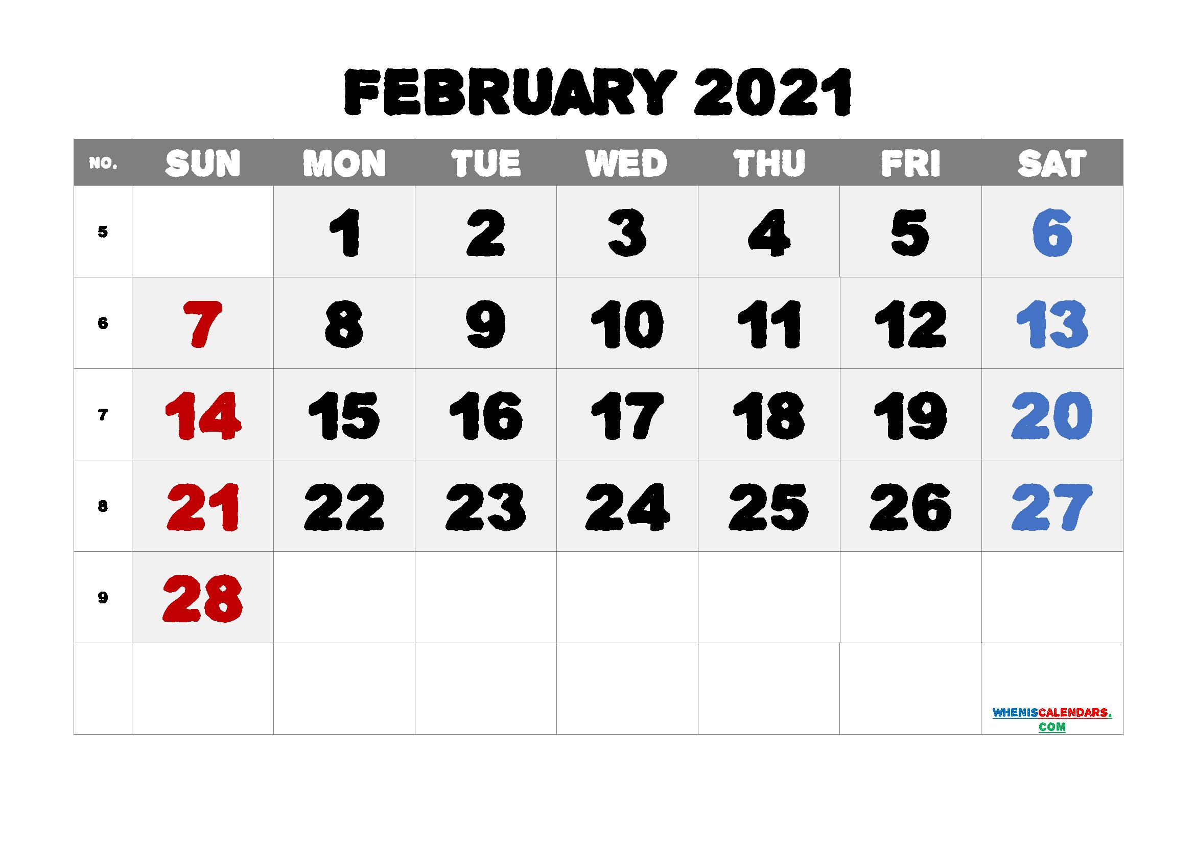 Editable Printable February 2021 Calendar