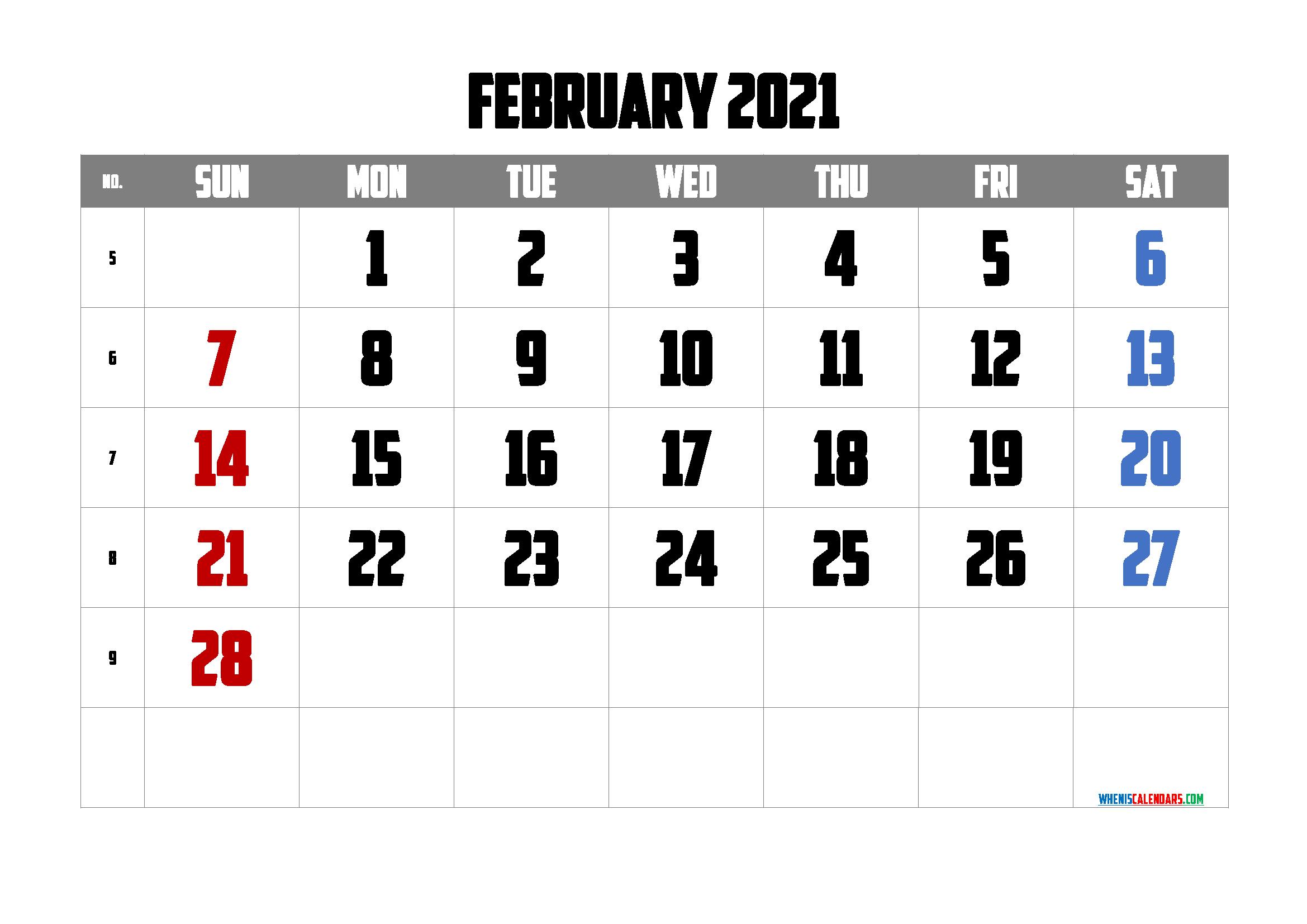 February 2021 Calendar Printable Free