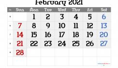 Editable February 2021 Calendar