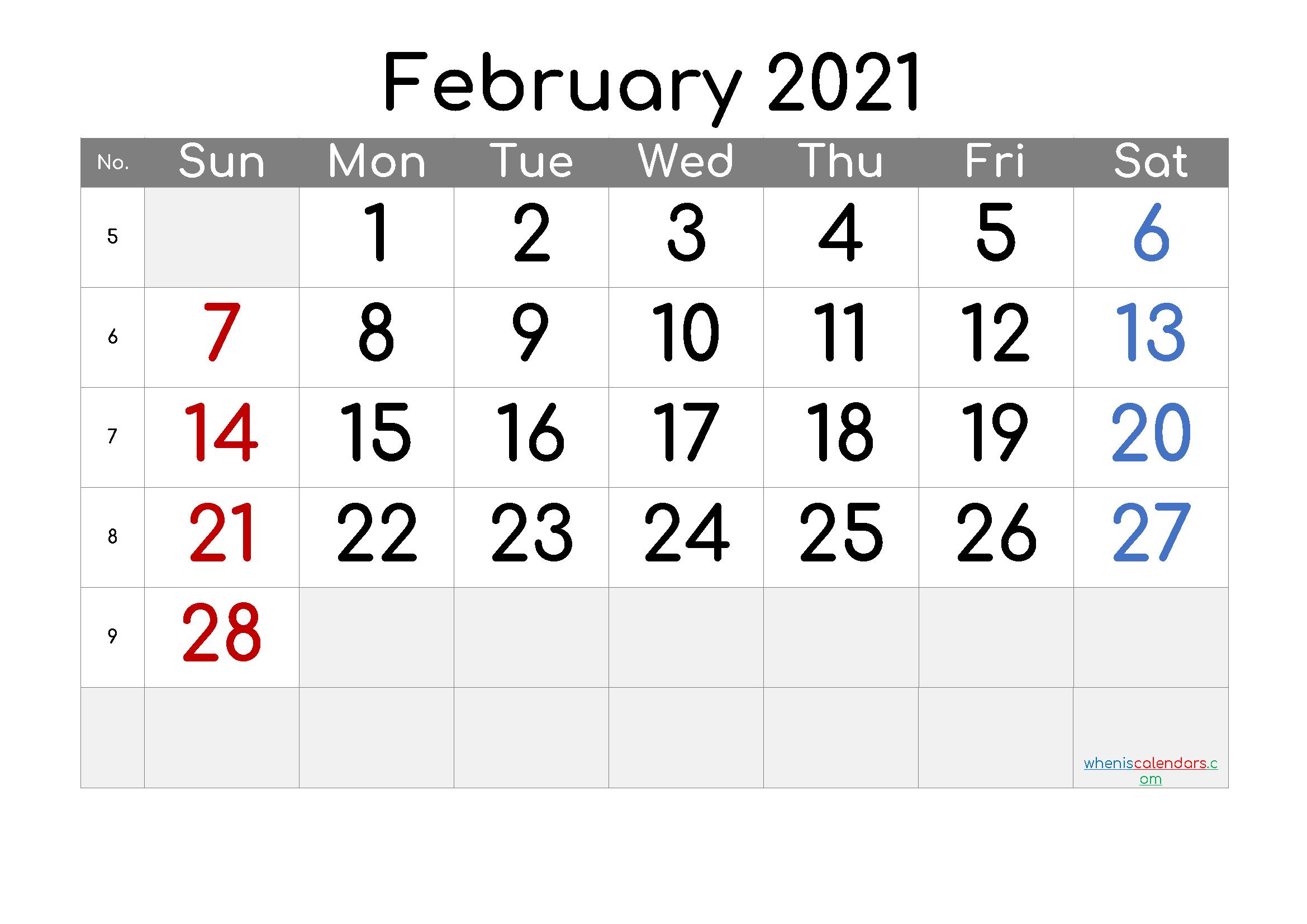 Free Editable February 2021 Calendar