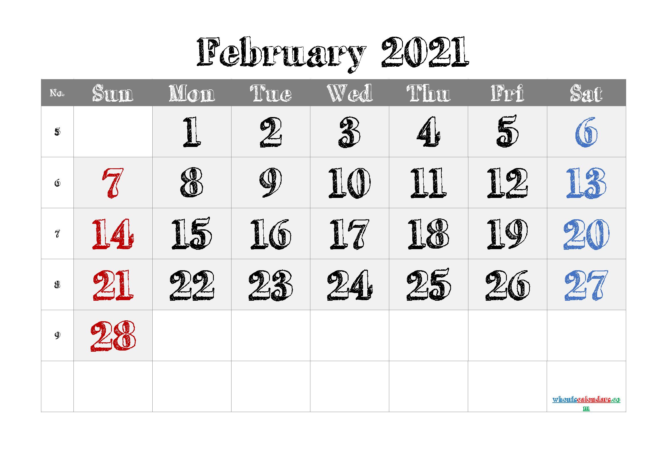 Free Calendar February 2021 Printable