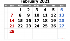 Calendar February 2021 Free Printable