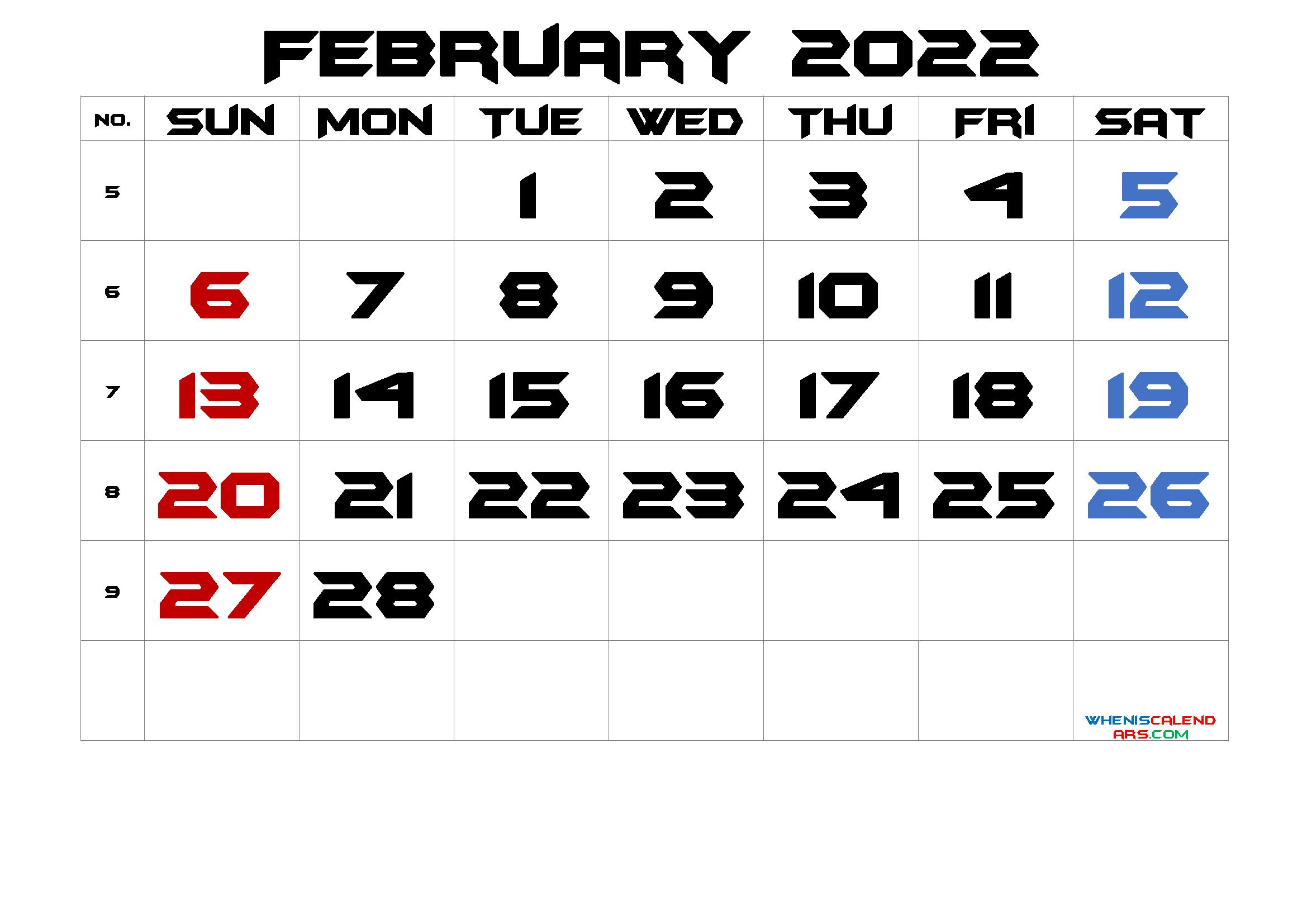 Printable February 2022 Calendar Free 12 Templates - Free ...