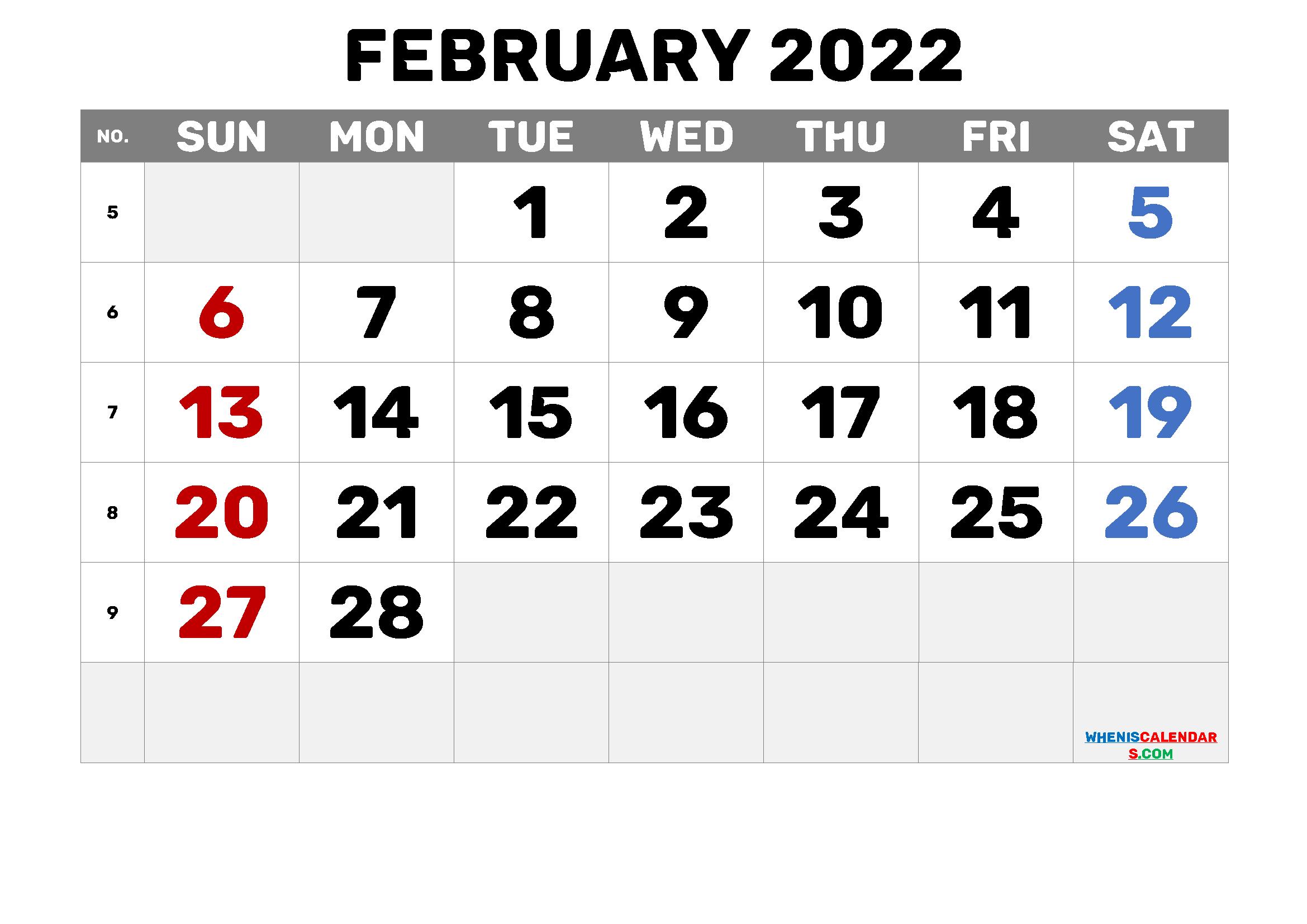 Printable February 2022 Calendar Free