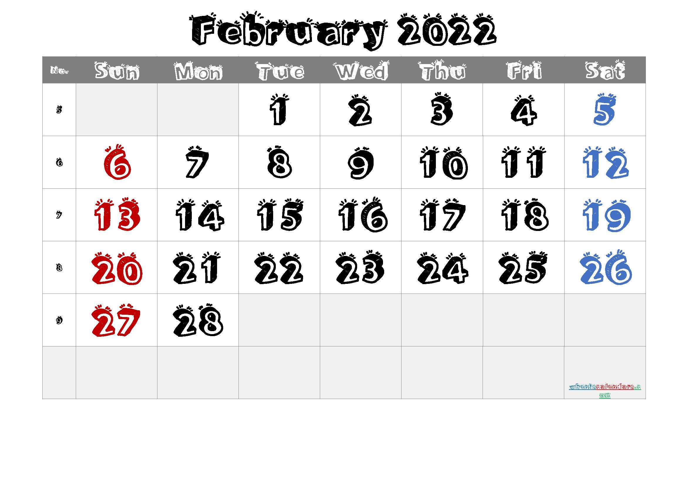 Printable February 2022 Calendar PDF