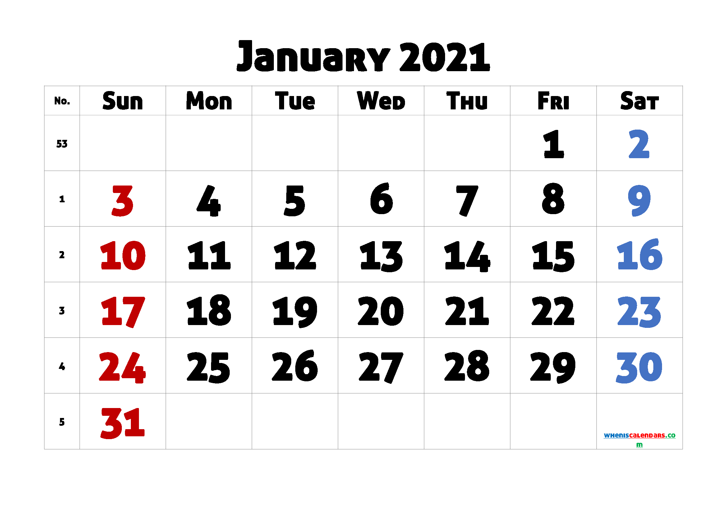 Printable January 2021 Calendar for Free