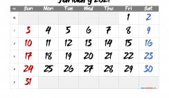 Printable January 2021 Calendar Free