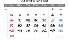 January 2021 Calendar Printable Free