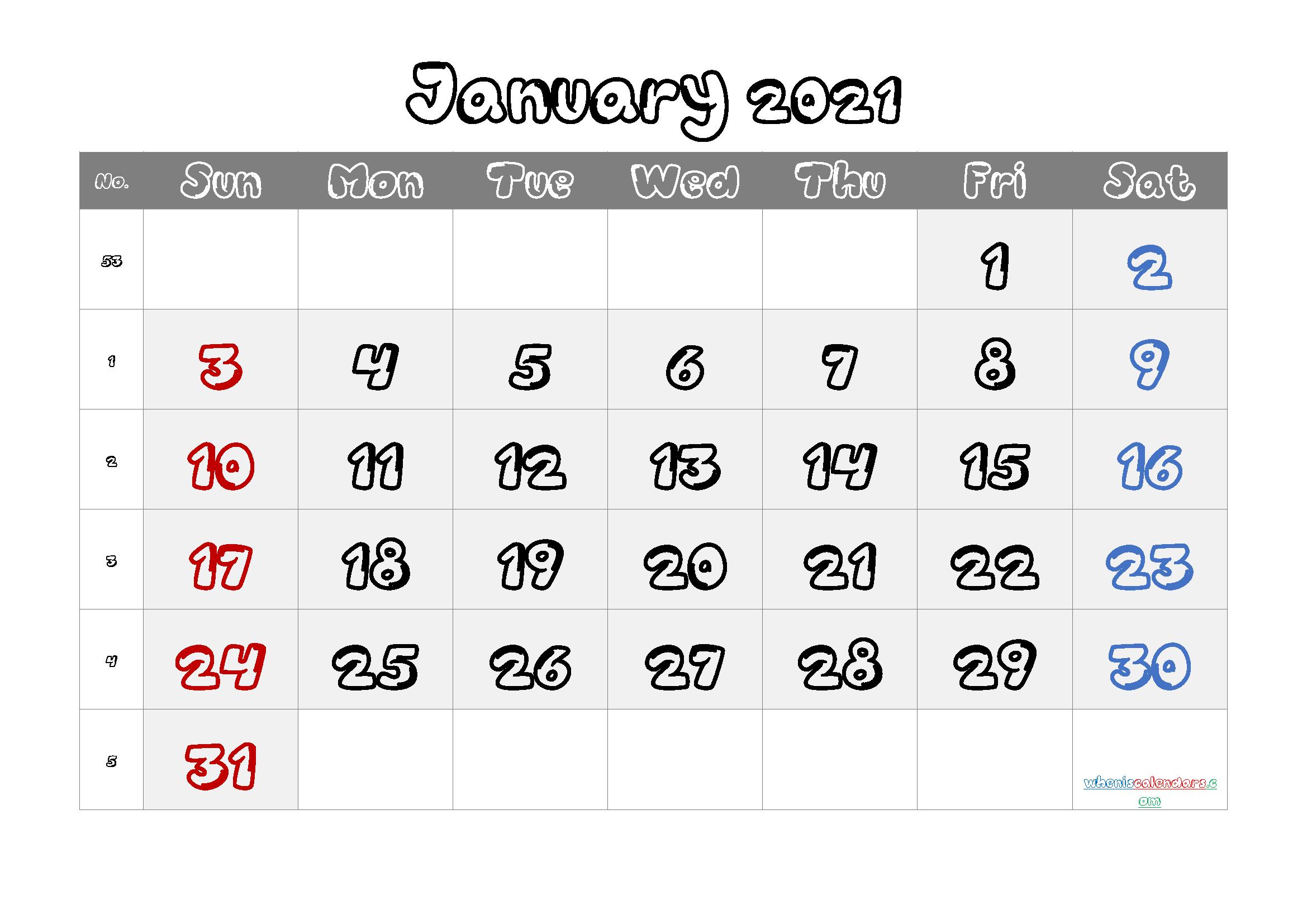 Free Calendar January 2021 Printable