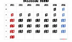 Calendar January 2021 Printable Free