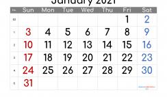Calendar January 2021 Free Printable