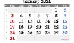 Printable January 2021 Calendar PDF